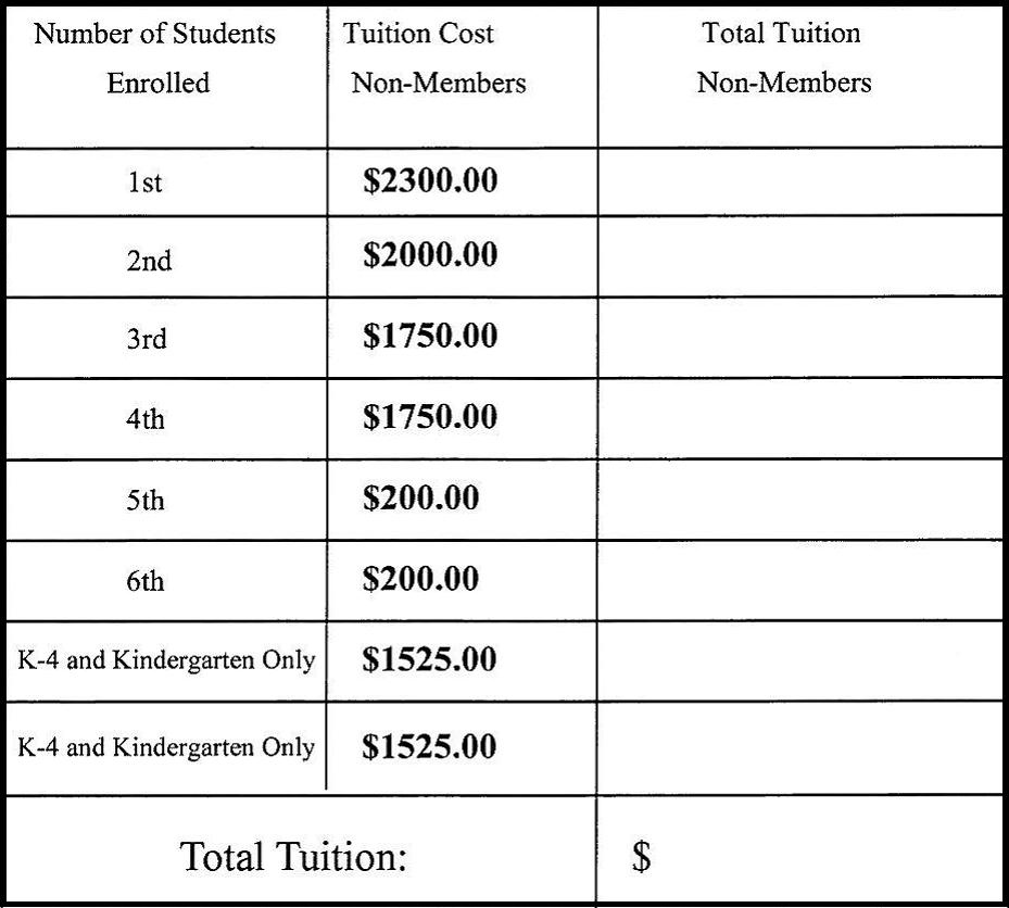 tuition non-members 2013